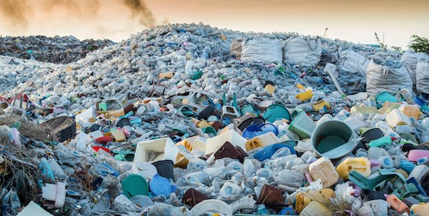 Plastic waste mountain